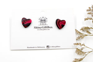 Pink & Black Galaxy Love Heart Studs