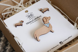 Dachshund Sausage Dog Lover Gift Set - Brooch & Earrings