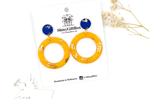 Navy & Gold Yellow Donut Dangle