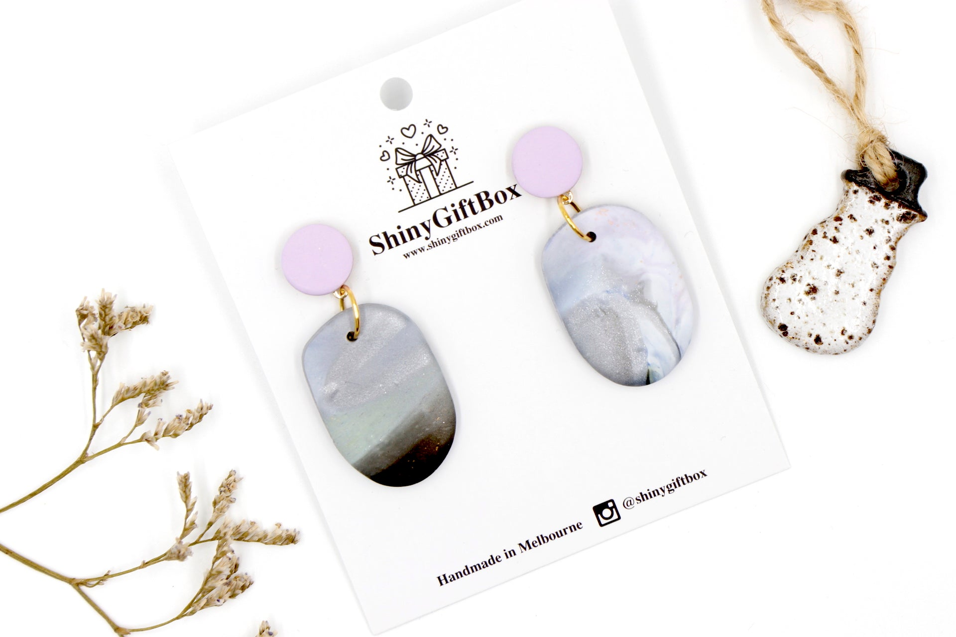 Silver & Lilac Giant Pebble Statement Dangle
