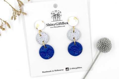 White Granite & Navy Triple Drop Dangle