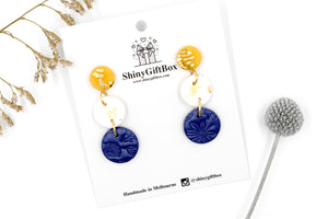 Gold White & Navy Triple Drop Dangle