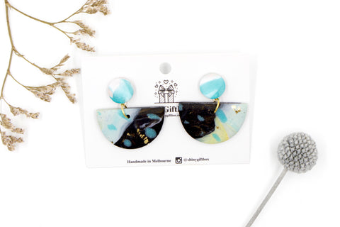 Turquoise & Black Galaxy Half Moon Dangle