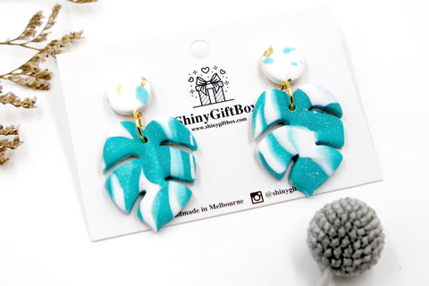 White & Turquoise Monstera Statement Dangle