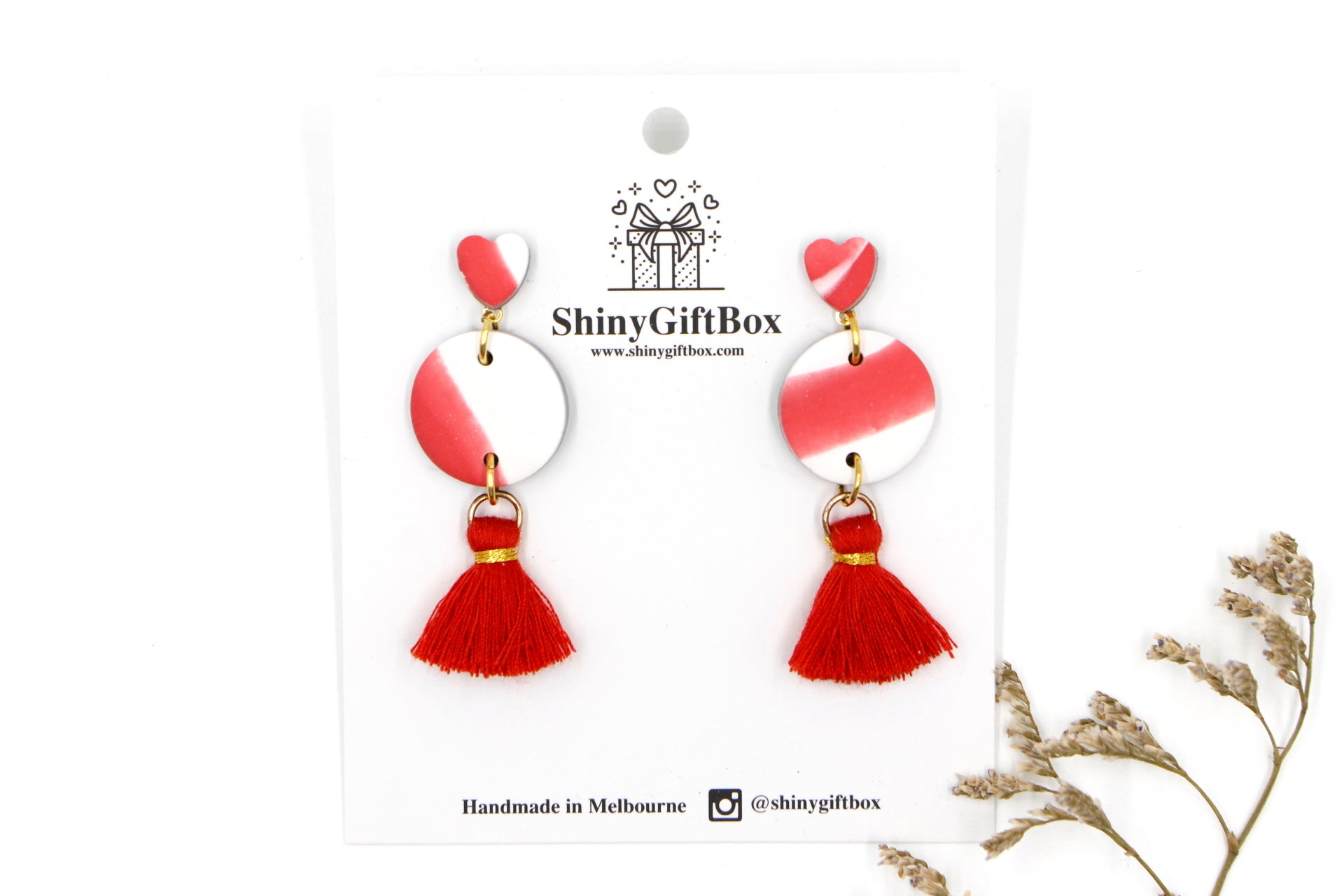 Red Love Heart Tassels Dangles