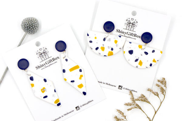 Navy & Mustard & White Half Moon Dangle