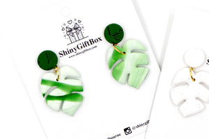 Green Monstera Statement Dangle