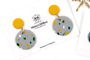 Mustard Concrete Abstract Circle Dangle