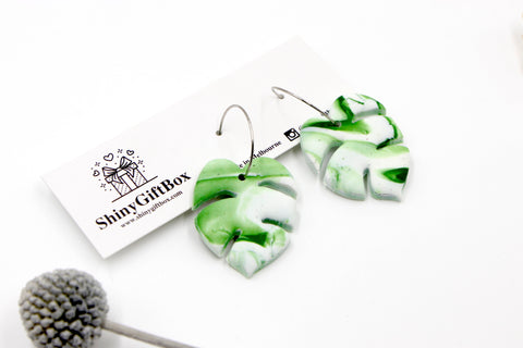 Green Monstera Hoop Dangle