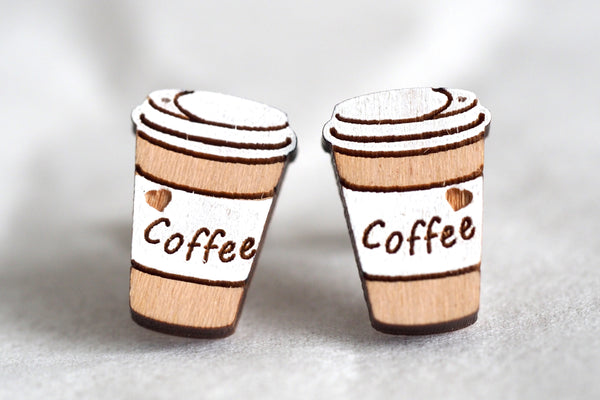 Takeaway Coffee Cups Wooden Stud Earrings
