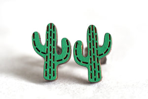 Cactus Wooden Stud Earrings