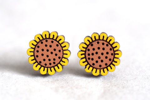 Sunflowers Wooden Stud Earrings