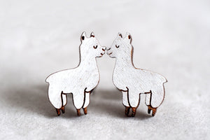 Llama / Alpaca Wooden Stud Earrings
