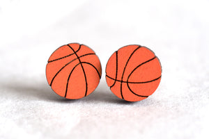 Basketball Wooden Stud Earrings