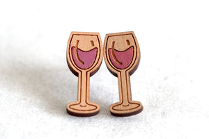 Wine Glasses Wooden Stud Earrings