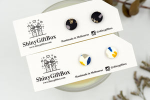 Black & Gold Foil / White Glittery Mini Studs