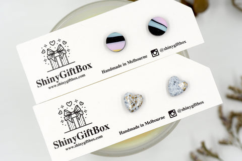 Granite & Pastel Stripes Hearts Mini Studs
