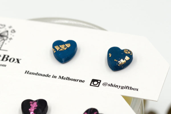 Black & Pink / Navy & Gold Love Hearts Mini Studs