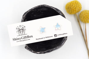 White & Blue Glitter Star Mini Studs