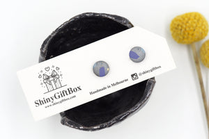 Silver & Blue Shimmer Mini Studs