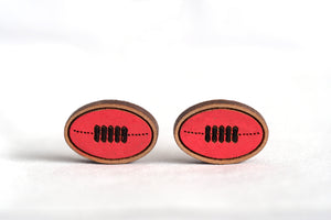 Footy / Football Wooden Earrings