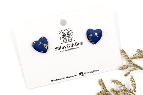 Navy Blue & Gold Love Heart Studs