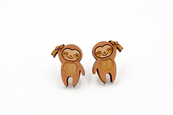 Sloth Wooden Earrings