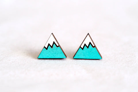 Mt Fuji / Snow Mountain Wooden Stud Earrings