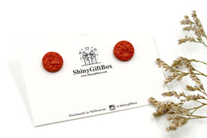 Cinnamon Leather Effect Textured Studs