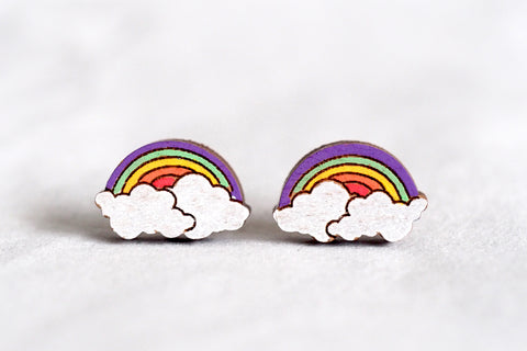Rainbow Wooden Earrings