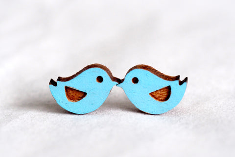 Twitter / Blue Birds Wood Earrings