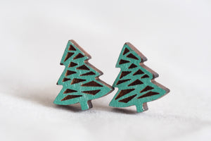 Christmas Tree Wooden Stud Earrings