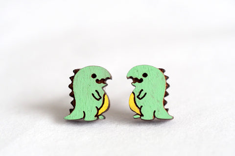 Dinosaur Wooden Stud Earrings