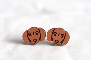 Sausage Dog / Dachshund Wooden Stud Earrings