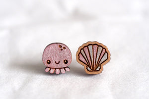 Jellyfish & Shell Wooden Stud Earrings