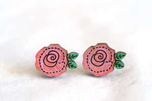 Pink Roses Wooden Stud Earrings