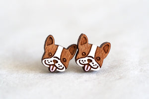 Boston Terrier / Boxer / Frenchie Dog Wooden Earrings