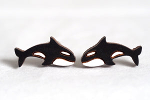 Killer Whale Wooden Stud Earrings