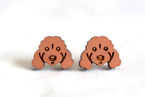 Cavoodle Spoodle Poodle Dog - Brown - Wooden Earrings