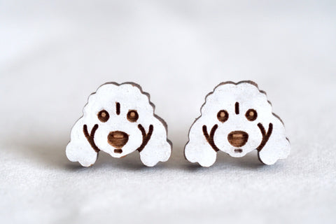 Cavoodle Spoodle Poodle Dog - White - Wooden Earrings
