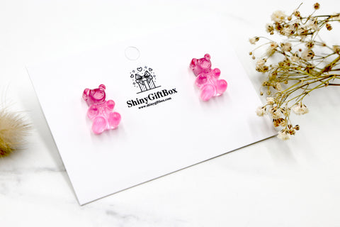 Gummy Bear Studs -  Transparent Pink
