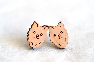 Pomeranian Dog Wooden Earrings