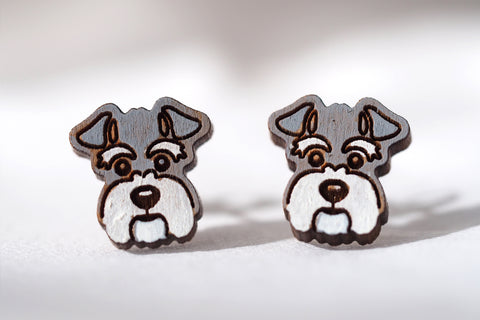Miniature Schnauzer Dog Wooden Earrings with White Beard