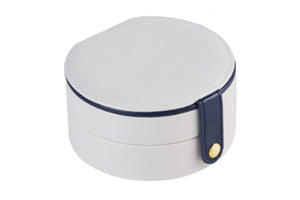 Pearl White & Navy Round Jewellery Travel Box