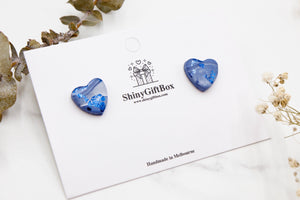 Blue Love Heart Studs
