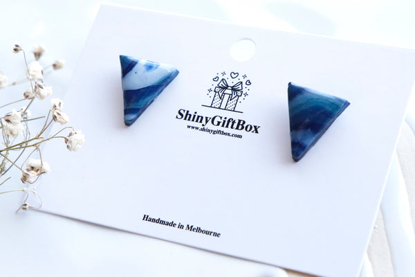 Blue & White Triangle Resin Studs
