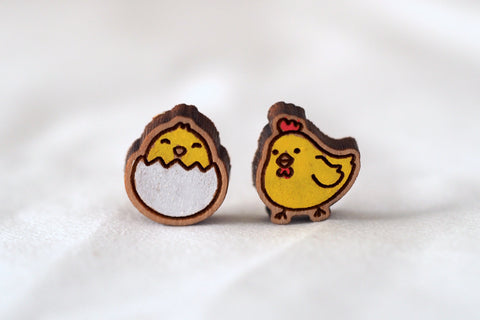 Chicken & Egg Wooden Earrings