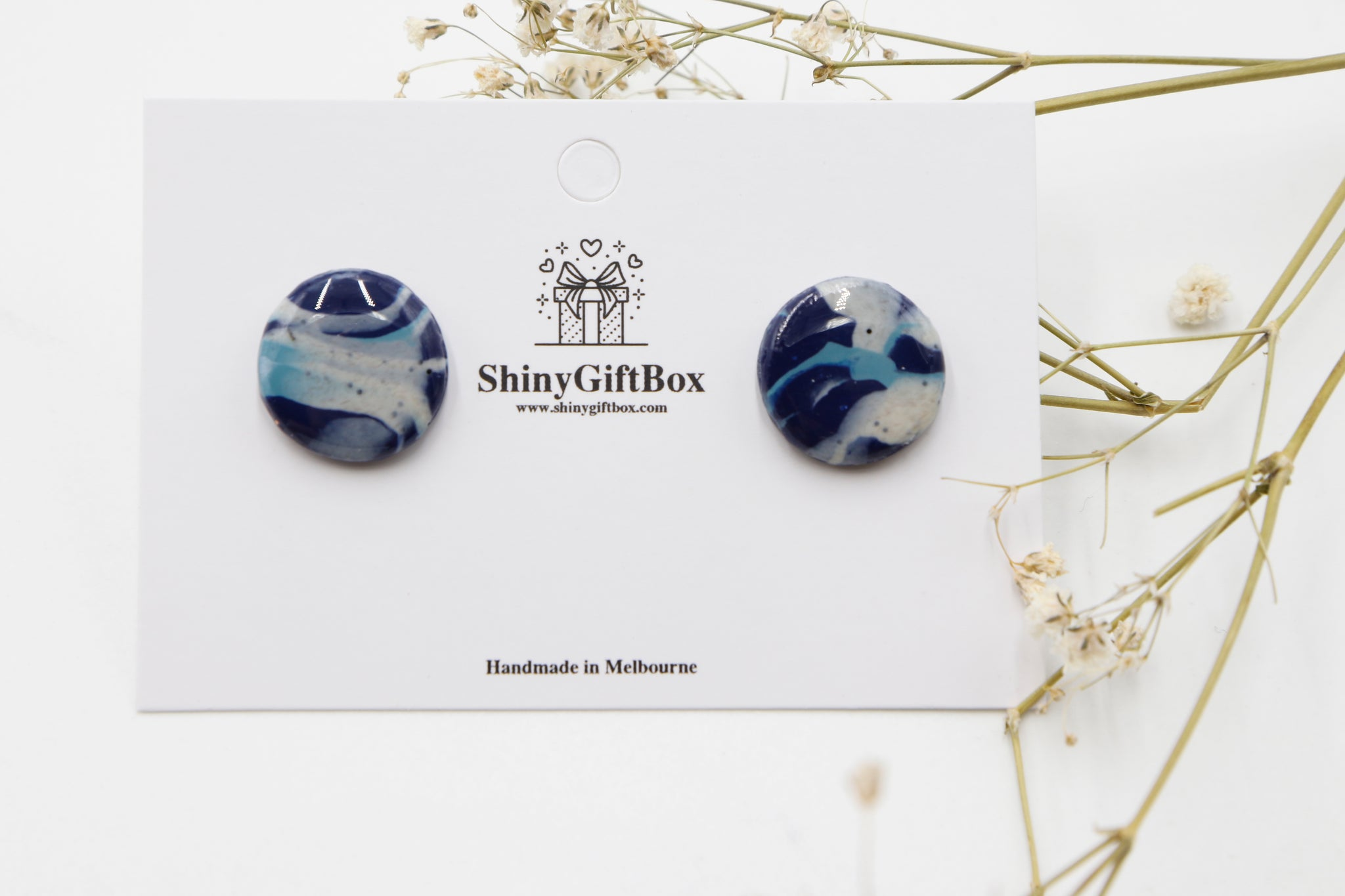 Blue & Granite Statement Resin Studs