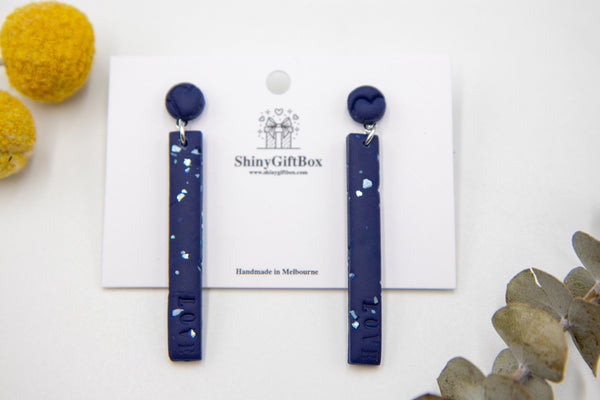 Long Love Earrings Navy Blue with Sparkles