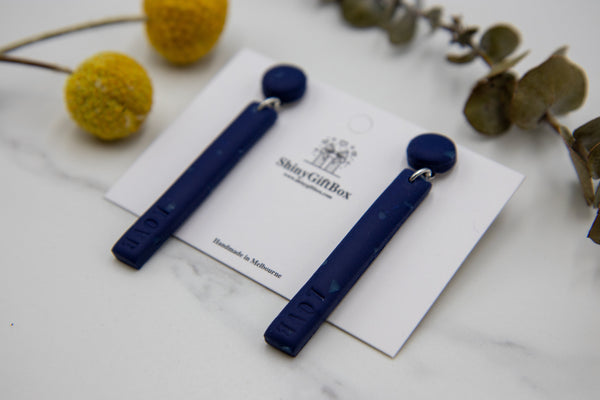 Long Love Earrings Navy Blue